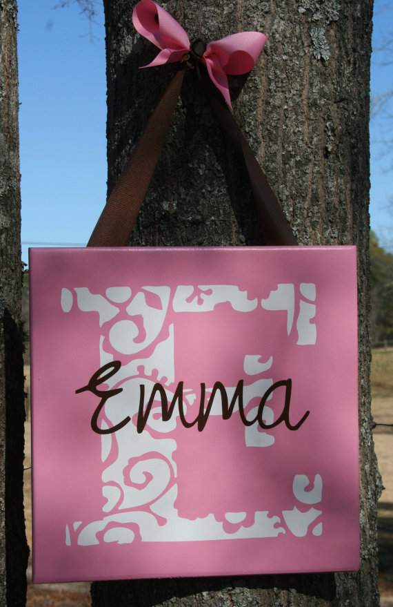 "Personalized ""Emma"" Girls Name Wall Hanging"
