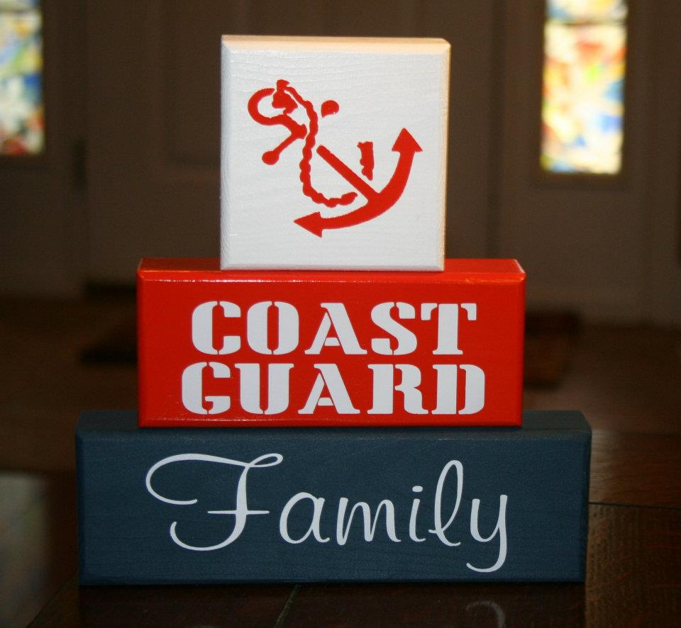 Coast Guard Military Family Blocks Shelf Sitter