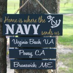 5 Duty Stations Home is Where the Air Force, Army, Coast Guard, Marine Corps, Navy Sends Us Military Family Sign