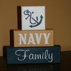 NAVY FAMILY Military Blocks painted decor Shelf Sitter